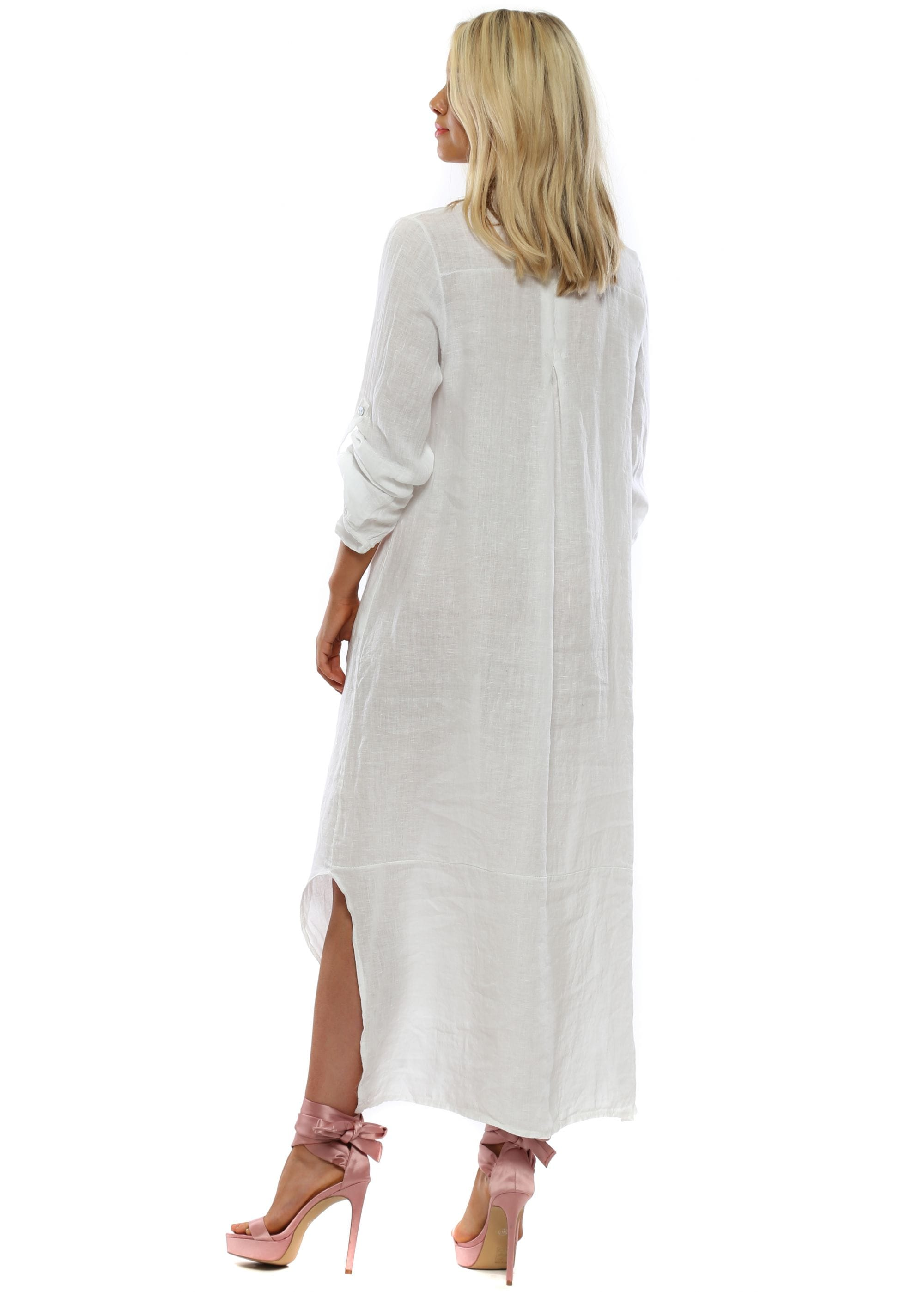 Lea & Luc White Linen Maxi Shirt Dress