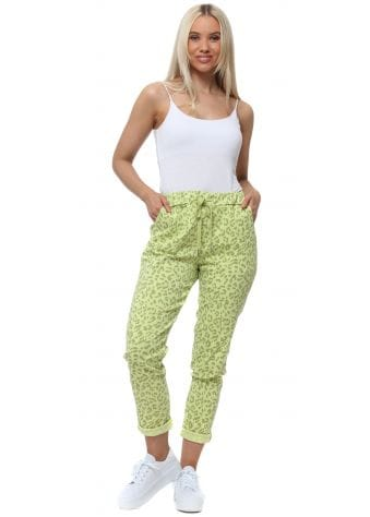 Made In Italy Lime Leopard Print Magic Joggers