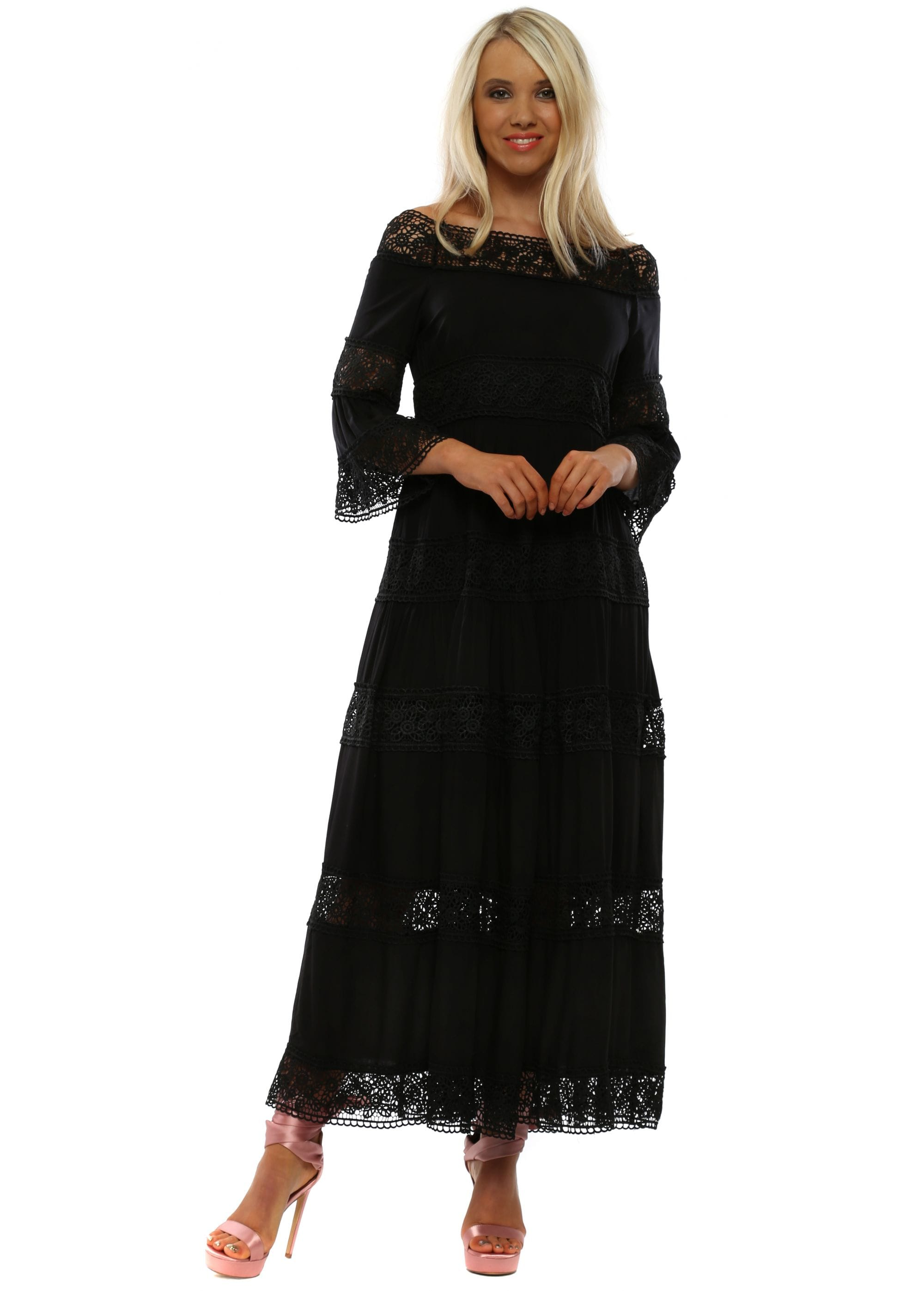 Black Bardot Lace Insert Maxi Dress
