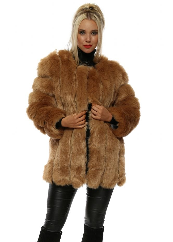 New York Dusky Pink Long Tiered Faux Fur Coat