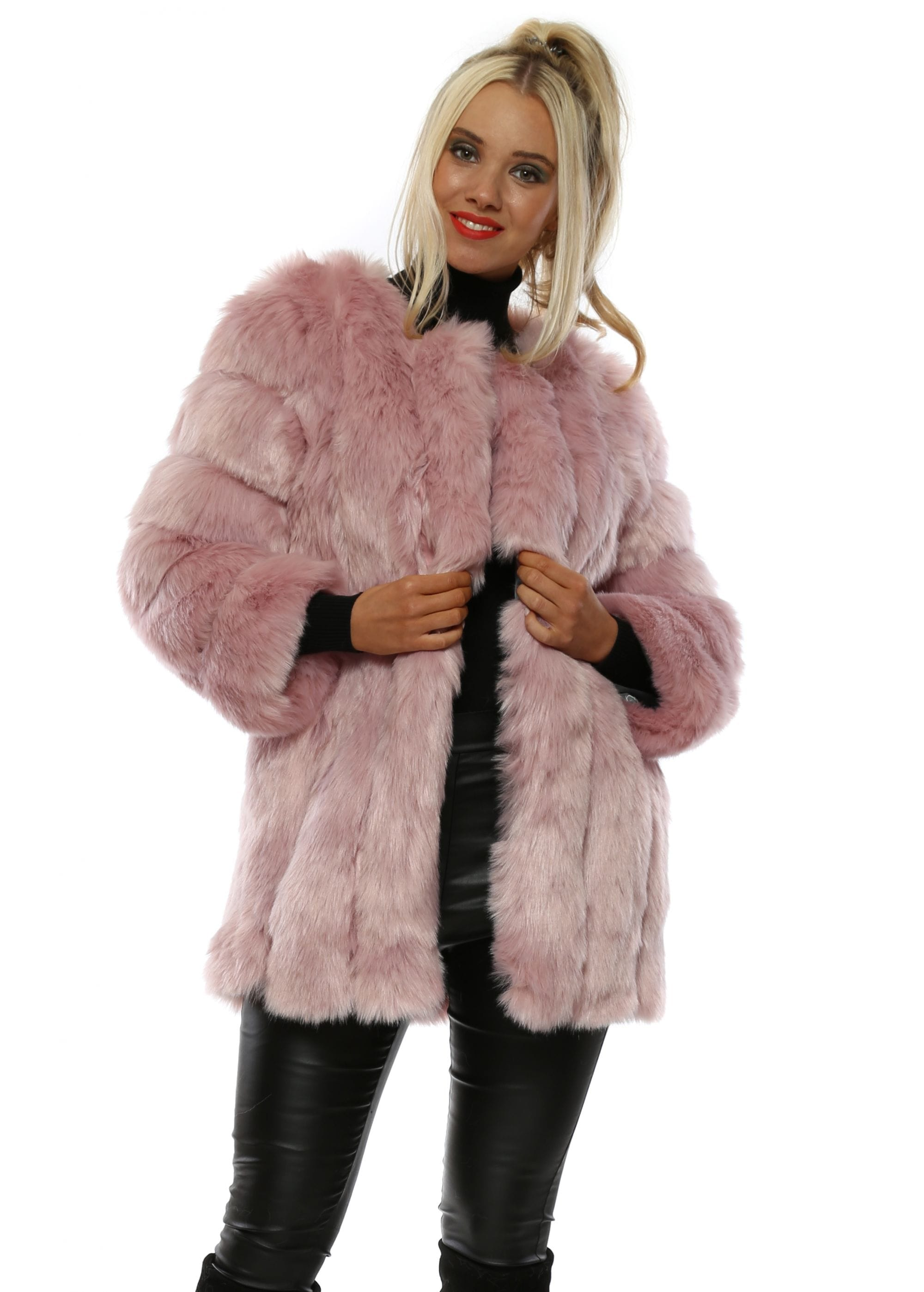 New York Naked Long Tiered Faux Fur Coat
