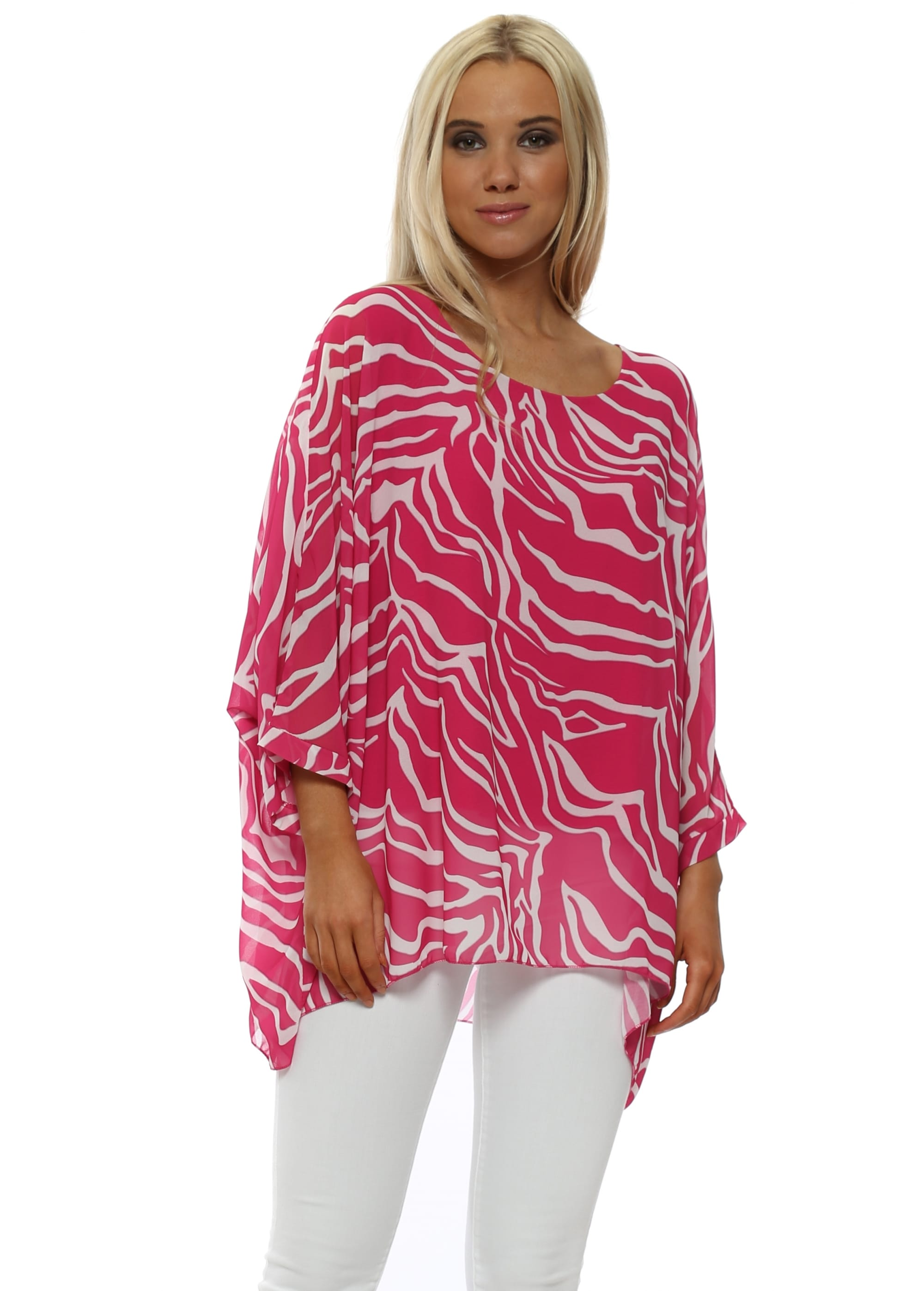 new high quality release info on cheap prices Hot Pink Zebra Print Batwing Top