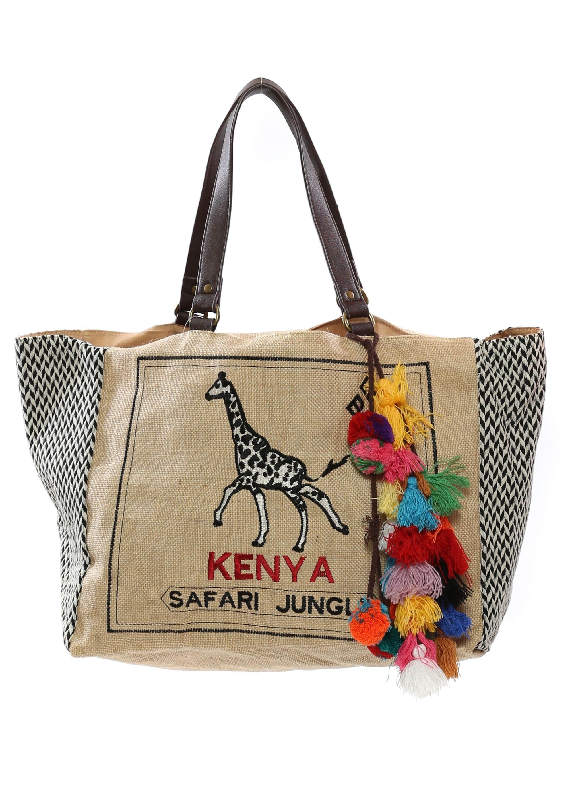 Kenya Jungle Oversized Tote Bag With Tassels