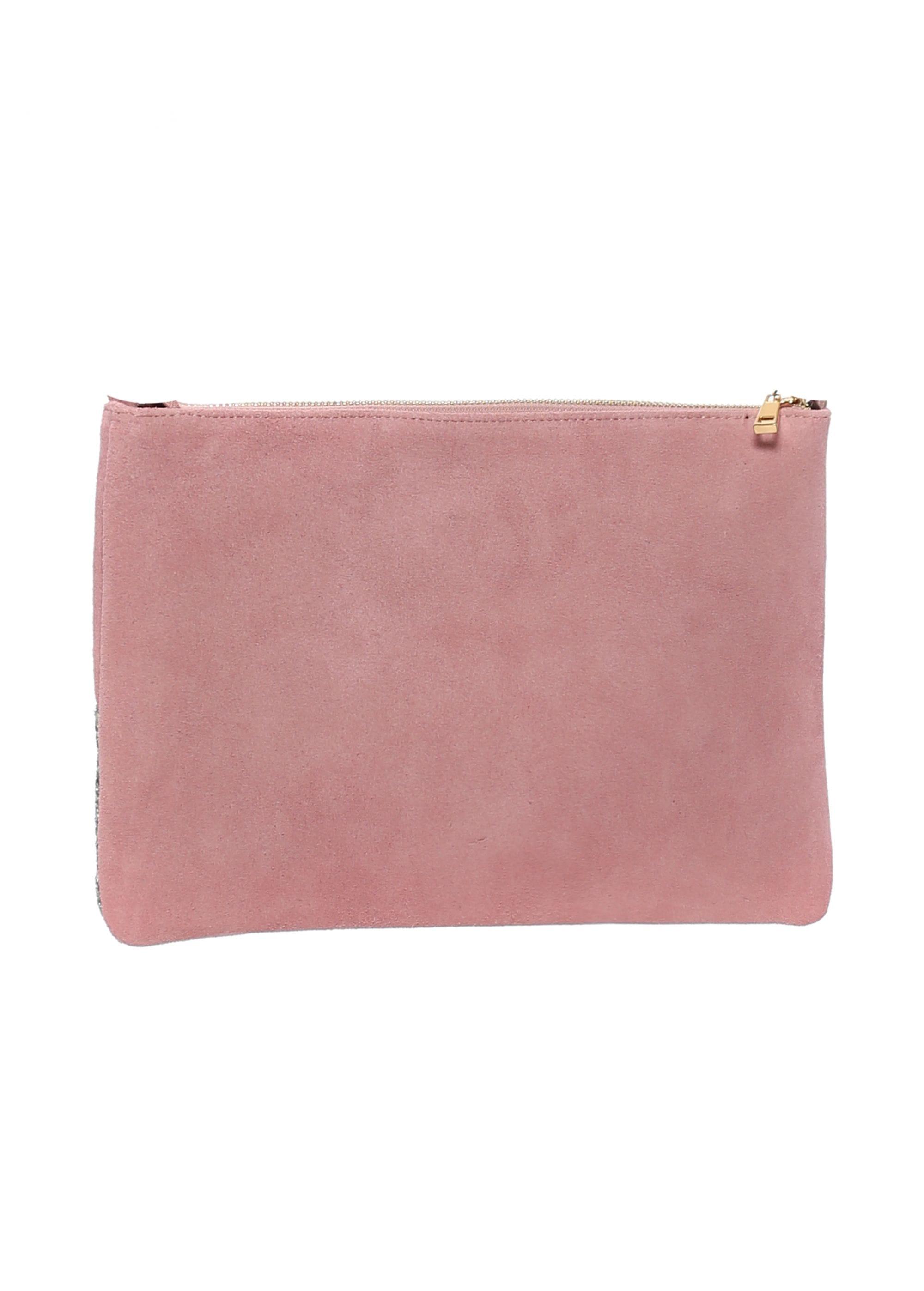 Pink Suede Glitter Clutch Bag