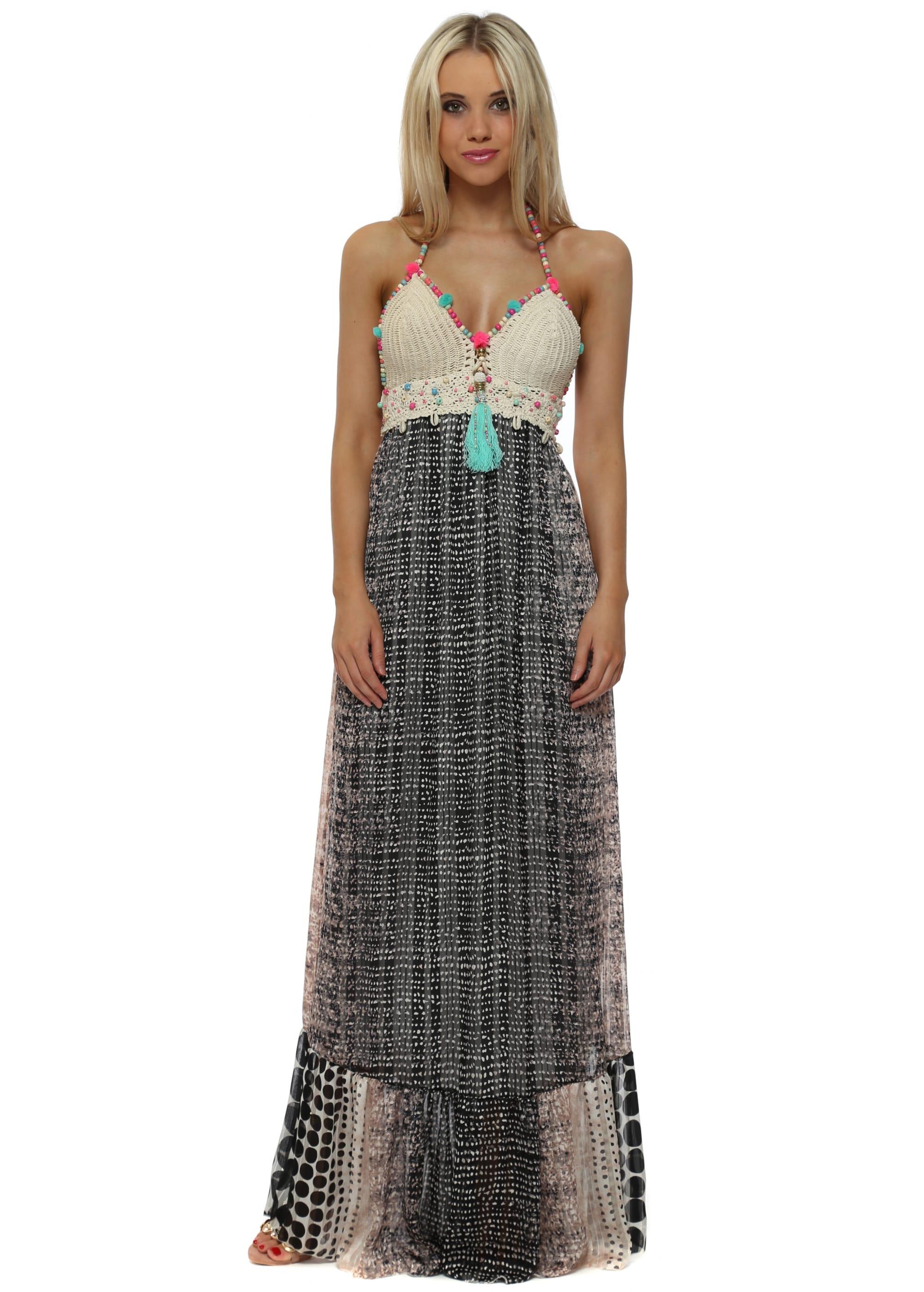 My Story Black Pink Crochet Tassel Bodice Maxi Dress