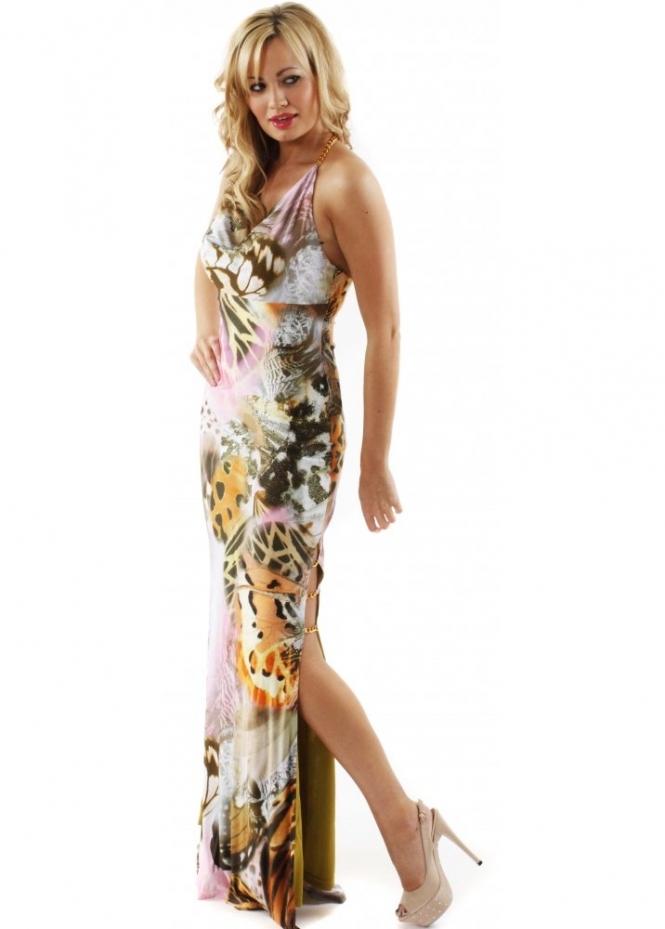 27dab8adf61 Dress Tempo Butterfly Print Gold Chain High Split Halterneck Evening Dress
