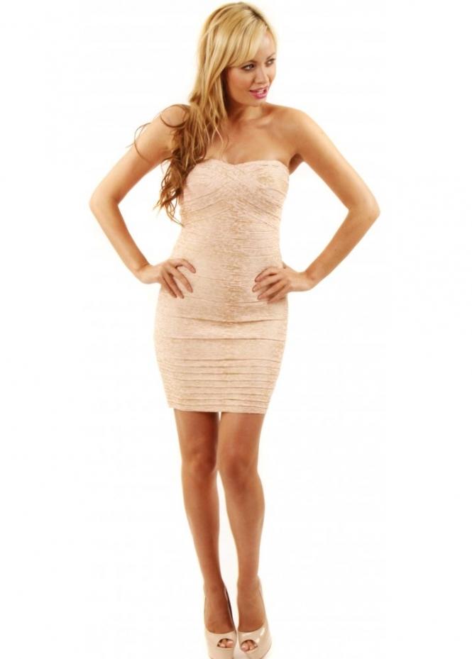 Designer Bandage Dress Nude Amp Gold Bodycon Dress