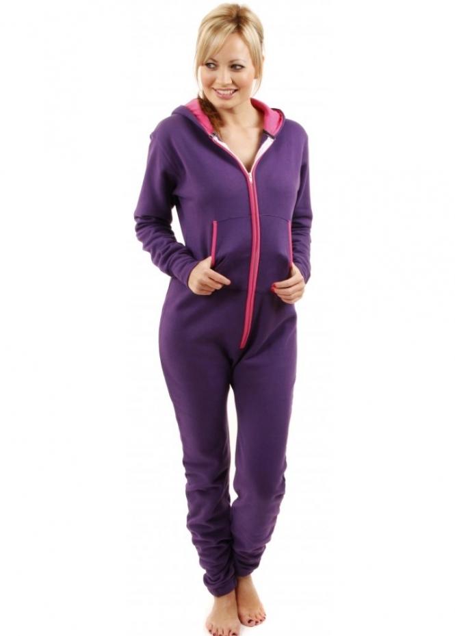 9cf57452d017 Purple Fleece Onesie With Hot Pink Trim
