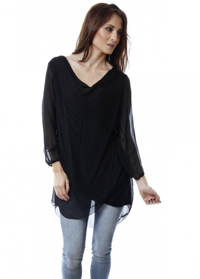 369601ad1264d5 Black Silk Cowl Neck Long Sleeve Blouse Top
