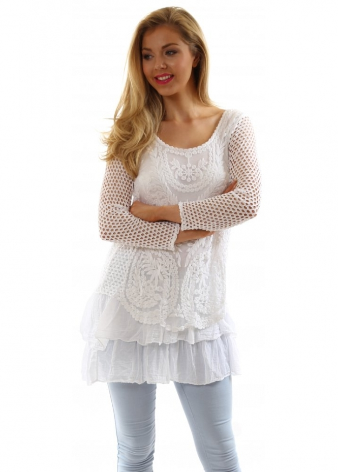 Outlet New Jersey >> Designer Desirables White Crochet & Lace Long Sleeve ...