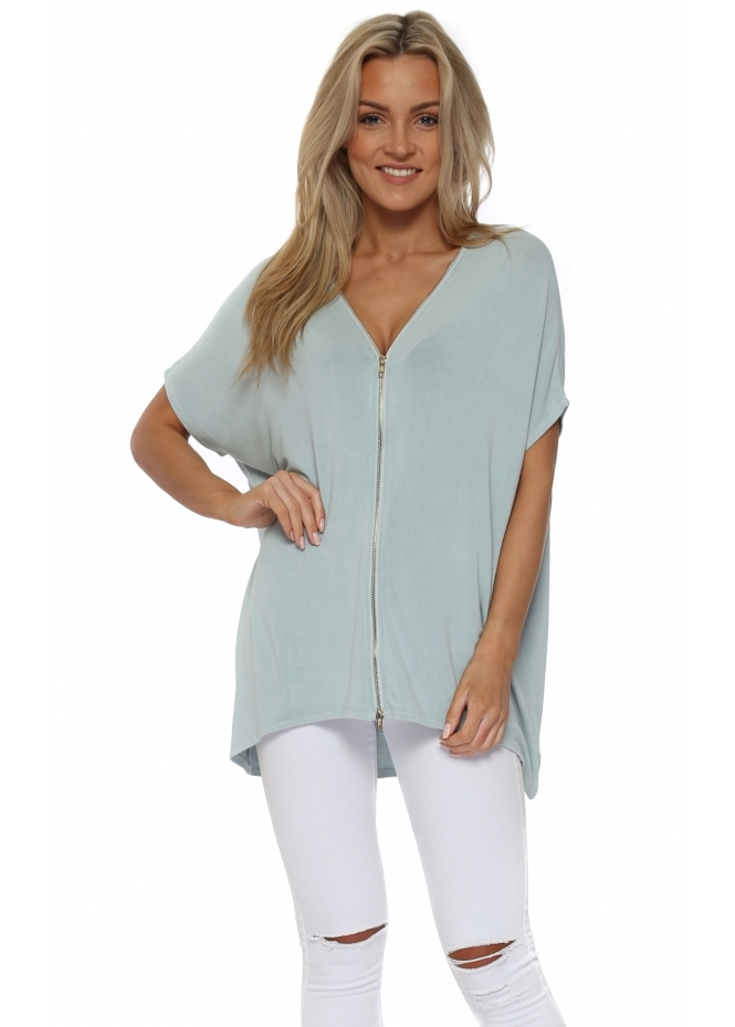 A Postcard From Brighton Sleeveless Flick Julep Grey Double Ended Zip Top