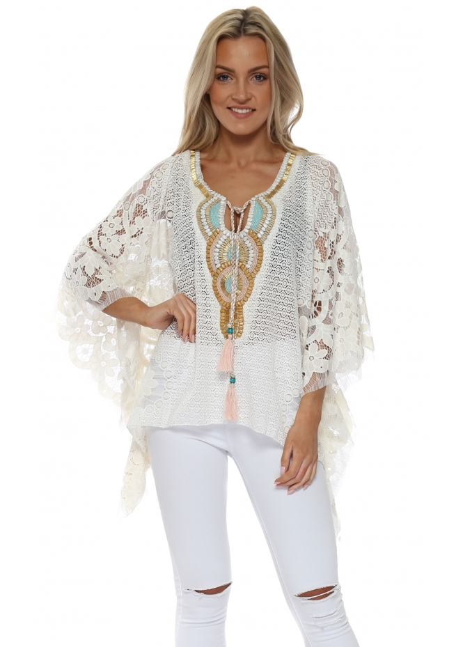 Laurie & Joe Ivory Floral Crochet Lace Embellished Kaftan Top