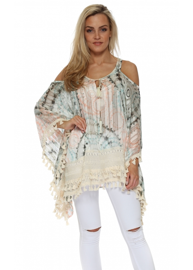 Just M Paris Frenji Pastel Tie Dye Print Cold Shoulder Kaftan Top