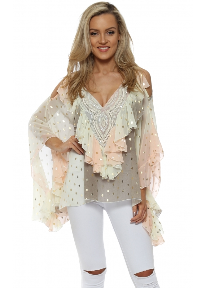 My Story Peach Ombre Gold Foil Ruffle Cold Shoulder Top