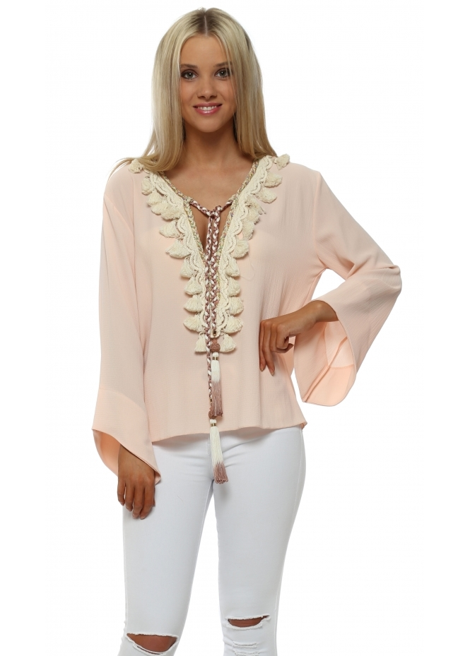 Laurie & Joe Nude Crepe Tassle Tie Braid Top