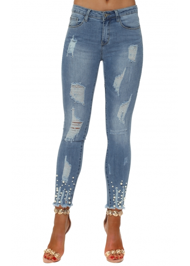 Redial Blue Stretch Fit Distressed Pearl Ankle Jeans