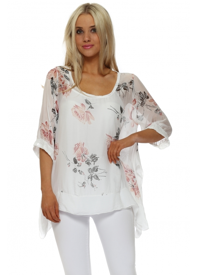 Made In Italy White Floral Silk Sequinned Layered Sides Top
