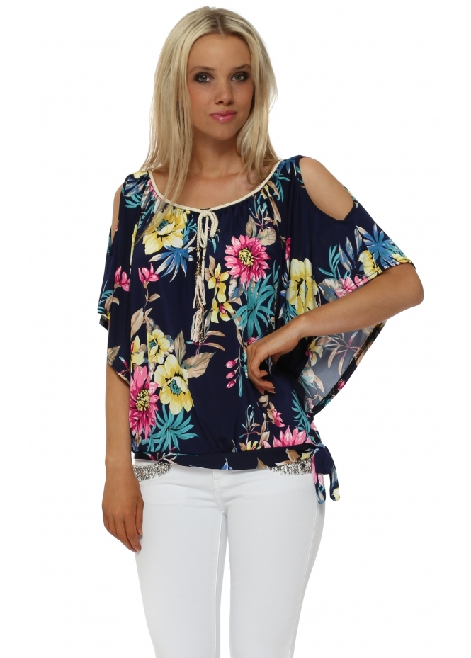 French Boutique Navy Tropical Floral Print Cold Shoulder Top