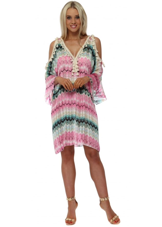f4ed512ffca Troiska Paris Aqua & Pink Zig Zag Print Tunic Dress