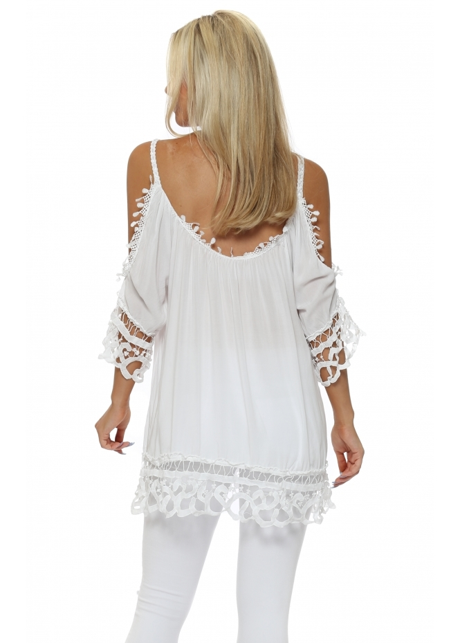2ad0b7f31e0a1c Made In Italy Crochet Cold Shoulder Tunic Top