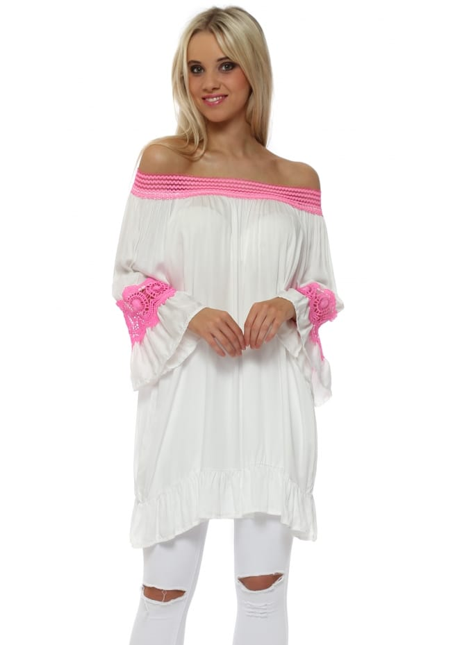 Made In Italy White & Neon Pink Crochet Detail Bardot Top