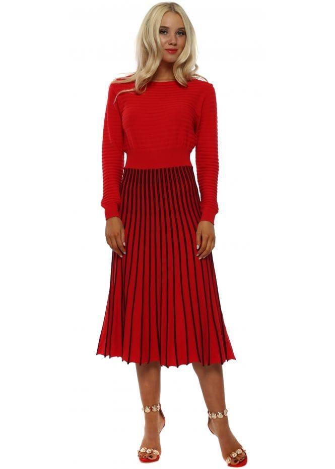 d22e3f740b5b Red Ribbed Fine Knit Midi Dress by Laetitia Mem