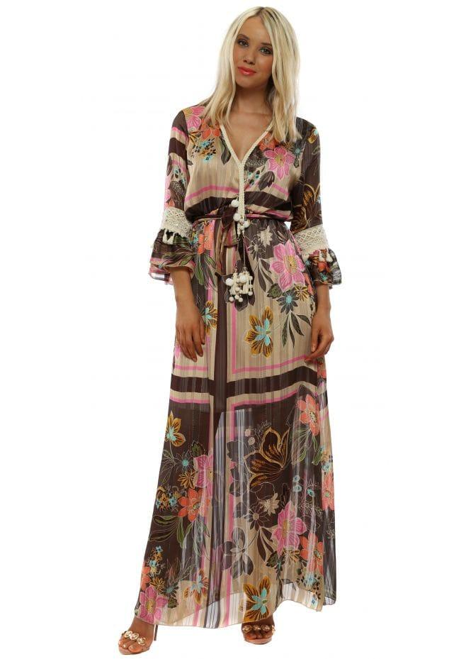 50b5665beb05 Brown Floral Print Chiffon Maxi Dress