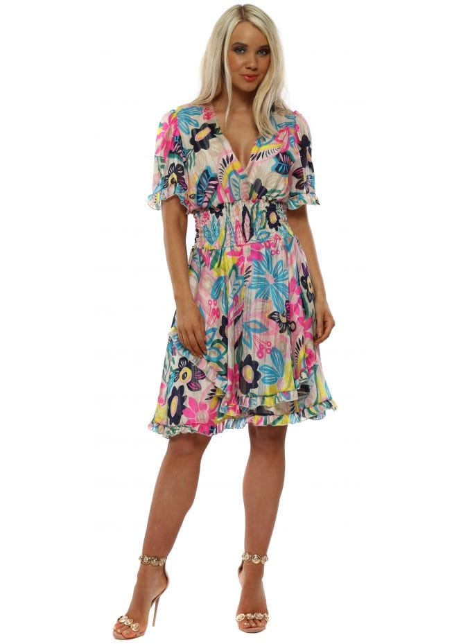 Port Boutique Pink Multi Floral Fit Flare Dress