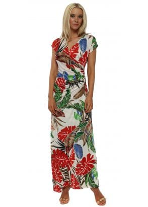3923087e2cf Elissa Navy Blue Floral Print Wrap Maxi Dress