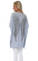 2154aa8a5ffd Baby Blue Angel Wings Baggy Oversized Jumper