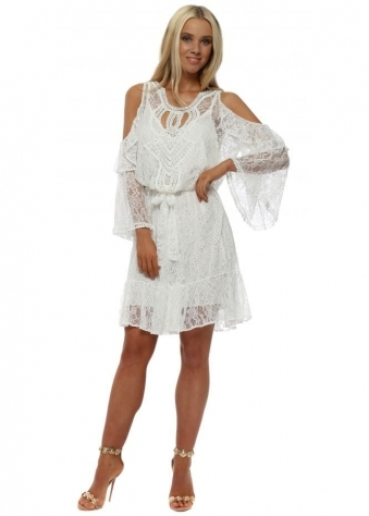 7a9808ada76 White lace Pearl Cold Shoulder Dress
