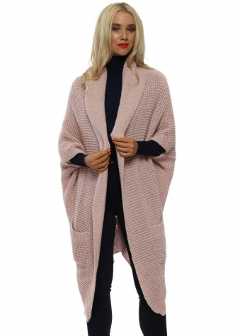 1fbc626f3c Baby Pink Chunky Long Cocoon Cardigan · Belle Fa ...