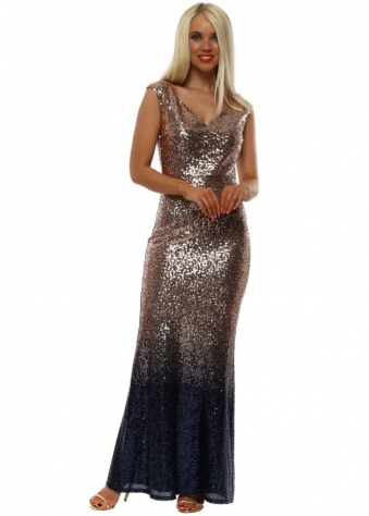 1a625665ac66 Stephanie Pratt Champagne Ombre Sequinned Maxi Dress. Goddess London ...