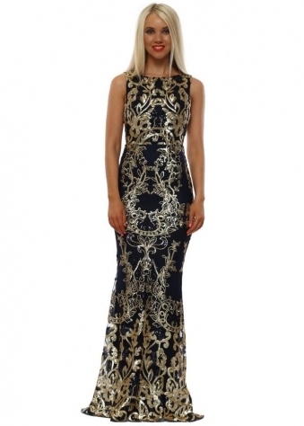1cb54be07ca4a2 Stephanie Pratt Navy Sequinned Scalloped Maxi Dress. Goddess London ...
