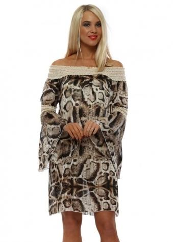 2b8debdd602 Animal Print Crochet Bardot Dress