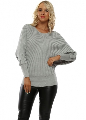 2122ed1192f Silver Ribbed Batwing Jumper