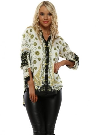 7e862b90244 Black   Ivory Italian Print Shirt