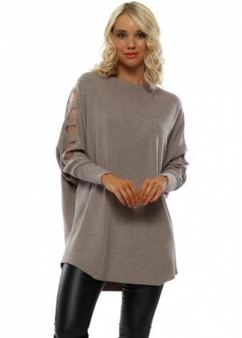 Taupe Sparkle Heart Sleeves Ribbed Jumper 86f2b63a7
