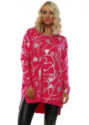 Pink Foil Chain Tunic Jumper 26eef0a12