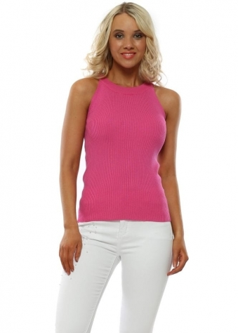 027357a18cb Pink Fine Knit Ribbed Sleeveless Top