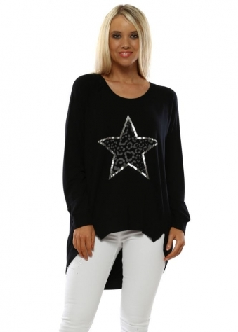 Leopard Star Black Jersey Sweater