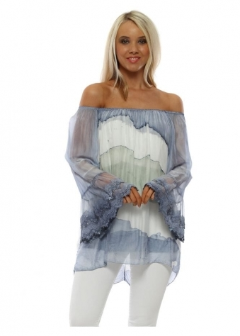 09c86259333 Blue Watercolour Stripe Bardot Top. Made In Italy ...