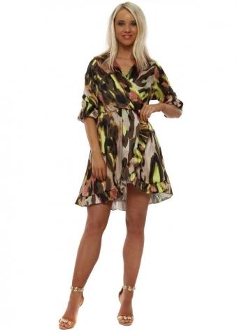 e028a8c3f14 Khaki Neon Leopard Frill Wrap Dress. Made In Italy ...