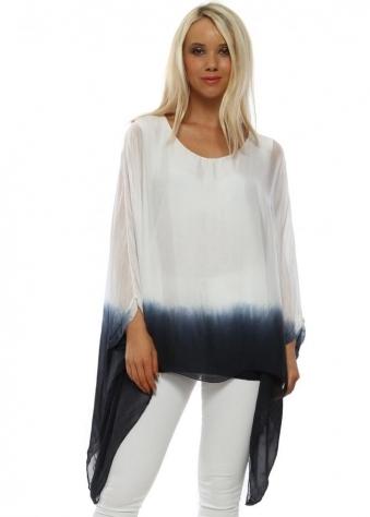 df1ed940720 One Size · White Dip Dye Silk Batwing Top
