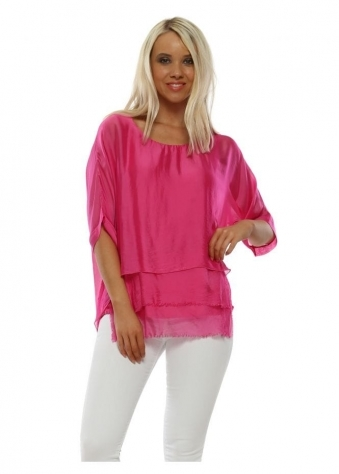 40cf1d588af9f Fuchsia Silk Frayed Layer Top · Made In Italy ...