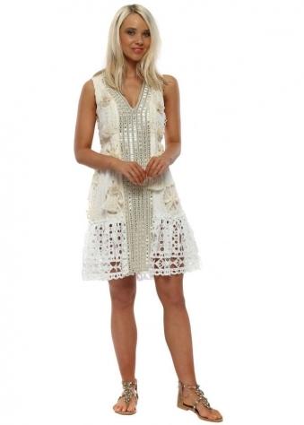 9000429c4d88 Ivory Mirrored Floral Tassle Mesh Hem Dress