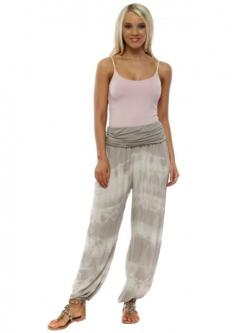 ea95dfb1875 Taupe Tie Dye Harem Trousers. Made In Italy ...