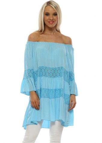 6c4353b0608 Sky Blue Lace Layered Bardot Top