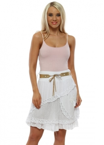 c7887581b230c White Cotton Belted Mini Skirt · Made In Italy ...