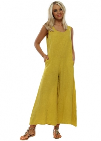 5c0386a503c5d Mustard Yellow Linen Relaxed Jumpsuit · Made In Italy ...